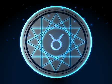 Glowing zodiac symbol on a background of a starry sky Ilustração