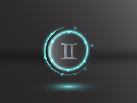 Glowing zodiac symbol on a gray background