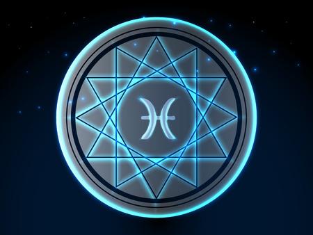 Glowing zodiac symbol on a background of a starry sky Archivio Fotografico - 105834391