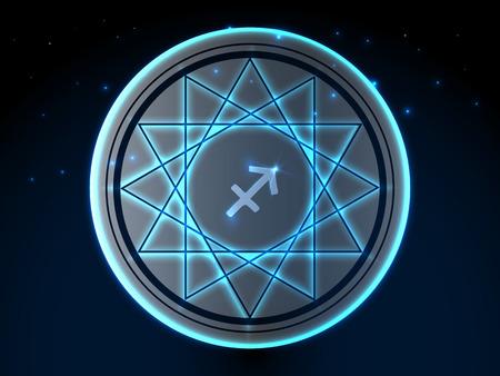 Glowing zodiac symbol on a background of a starry sky Archivio Fotografico - 105834467