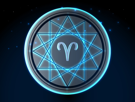 Glowing zodiac symbol on a background of a starry sky Vettoriali