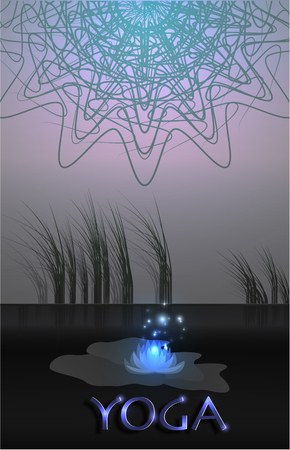 Luminous lotuses and mandala on the background of nature. Lake and lotuses. Meditation, yoga and relaxation