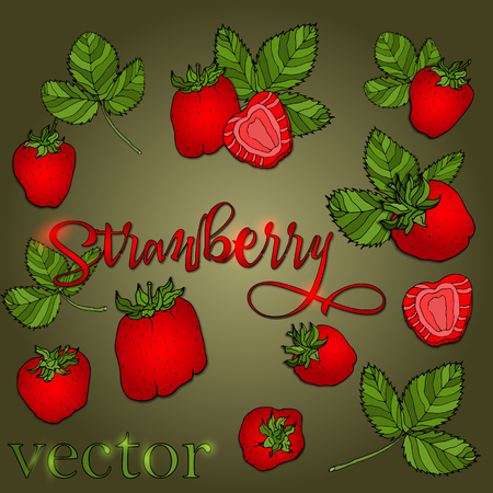Set of strawberries of different shapes with leaves on a green background