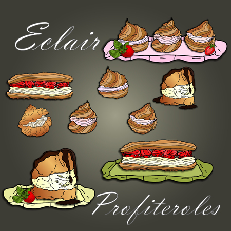 Eclairs,profiteroles and cakes on a green background with strawberries. A set of cakes.