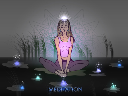 Meditative girl in the background of nature with luminous lotuses Vettoriali