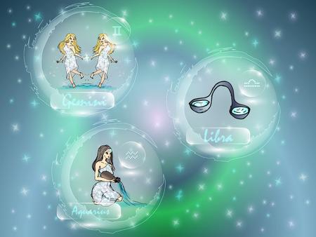 Signes du zodiaque contre le ciel étoilé. Un ensemble de constellations du zodiaque.