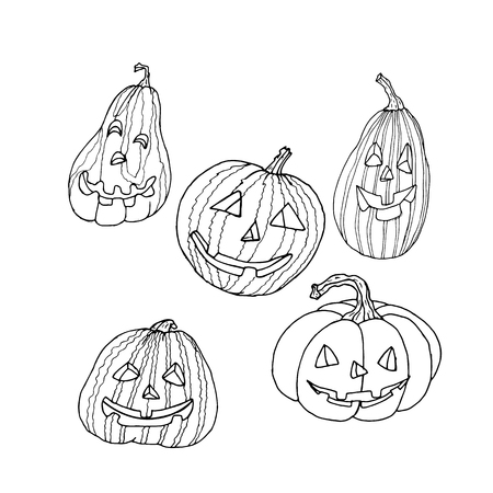 Pumpkin with carved spooky and funny face. Decorative elements for your celebration design. Vector illustration.