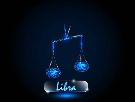 Libra.Zodiac symbol on a background of the starry sky. Signs of the zodiac, astrology.