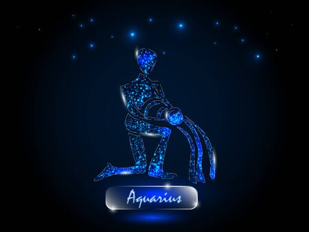 Aquarius.Zodiac symbol on a background of the starry sky. Signs of the zodiac, astrology.