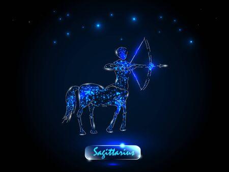 Sagitario Símbolo del zodíaco sobre un fondo del cielo estrellado. Signos del zodíaco, astrología.