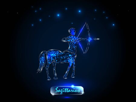 Sagittarius.Zodiac symbol on a background of the starry sky. Signs of the zodiac, astrology.