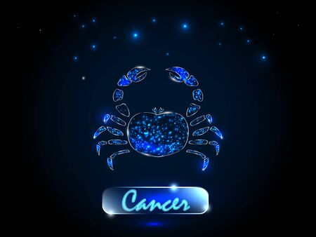 Cancer.Zodiac symbol on a background of the starry sky. Signs of the zodiac, astrology. Vettoriali