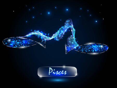 Piscis Símbolo del zodíaco sobre un fondo del cielo estrellado. Signos del zodíaco, astrología. Ilustración de vector