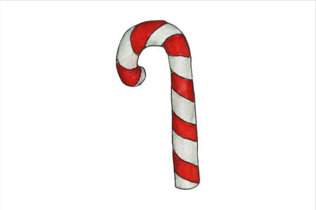 Candy Cane with Red Bow, Christmas and New Year Symbol.