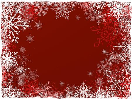 nice Christmas and New Year red background with different beautiful snowflakes photo
