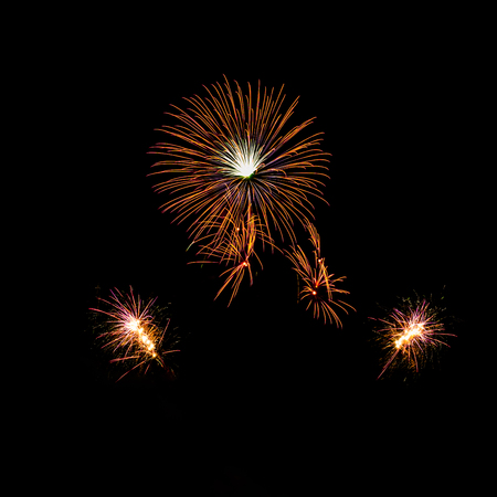 Various colorful fireworks isolated on  black background. Stock Photo