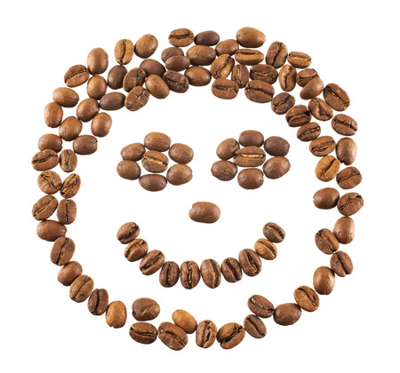 Smiling coffee beans isolated on a white  photo