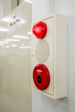 red siren: Fire alarm box , press switch ,siren and red light Stock Photo