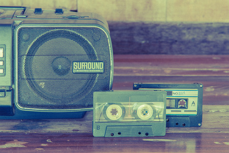 old cassette tape and player ,vintage style photo