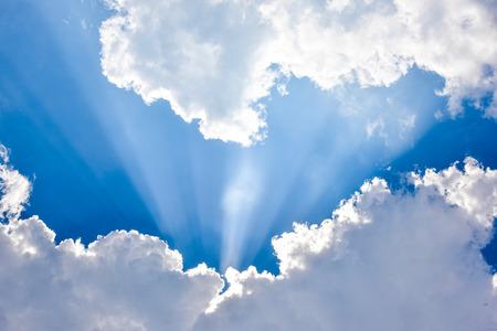 beam of light: Sun beam light through between clouds