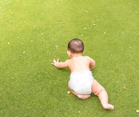 bebe gateando: beb� gateando en el campo de hierba verde en el parque