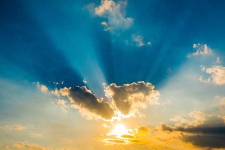 beam of light: evening sky with sun beam light and cloud