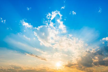 evening sky: evening sky with sun beam light and cloud
