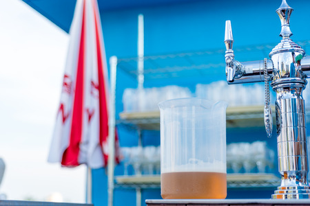 jarra de cerveza: jar of beer with pump head and faucet