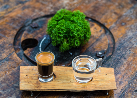 Espresso coffee cup serve with glass of water on wooden table which decor by green plant