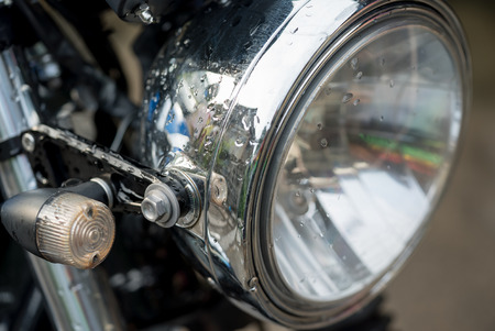 enfield: Part of Classic motorcycle Stock Photo