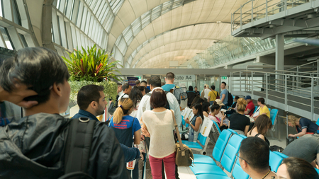 suvarnabhumi: BANGKOK, THAILAND - MAY 02, 2016: Suvarnabhumi International Airport interior view. Suvarnabhumi was officially opened for limited domestic flight service on 15 September 2006. Editorial