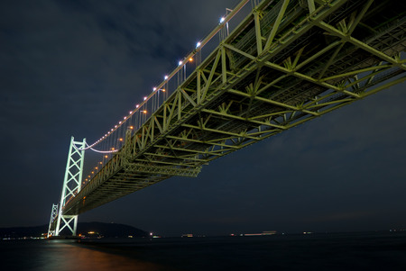 Akashi Kaikyo bridge at night  Kobe port , Japan Stock Photo