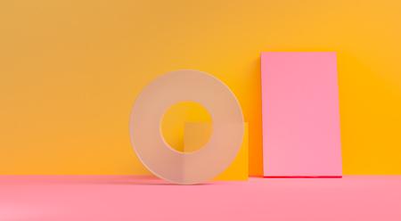Minimalist abstract background, primitive geometrical figures, 3D render. Banco de Imagens