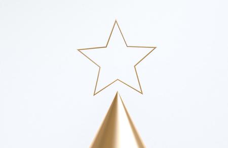 Primitive geometric Gold star shapes abstract background, pastel colors, christmas theme, 3D render. Banco de Imagens