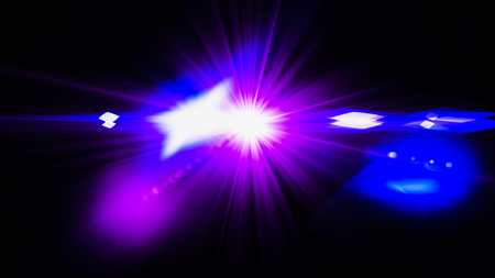 Realistic Len flare glow light effect on black background. Optical flares overlay or screen filter matte. Banco de Imagens - 120890912