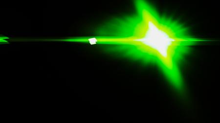 Realistic Len flare glow light effect on black background. Optical flares overlay or screen filter matte. Banco de Imagens - 120891294