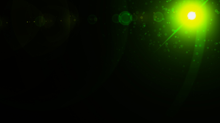 Realistic Len flare glow light effect on black background. Optical flares overlay or screen filter matte.
