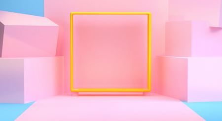 Fond abstrait minimaliste, figures géométriques primitives, couleurs pastel, rendu 3D. Banque d'images
