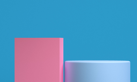 Minimalist abstract background, primitive geometrical figures, pastel colors, 3D render, podium for the advertized goods Stok Fotoğraf