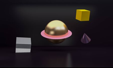 Abstract  sphere Colorful Geometric shape scene, Minimal Stlye Background, 3d rendering. Banco de Imagens