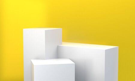 White Box Minimalist abstract background, primitive geometrical figures, 3D render. Banco de Imagens