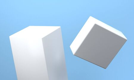 Abstract Colorful Geometric shape scene, Minimal Stlye Background, 3d rendering. Banco de Imagens