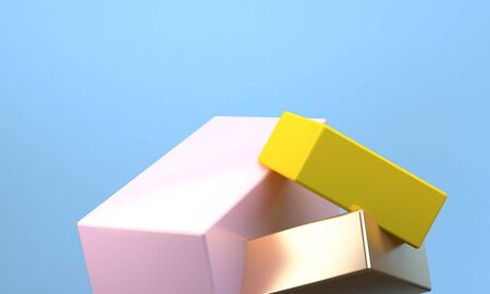 Abstract Colorful Geometric shape scene, Minimal Style Background, 3d rendering.