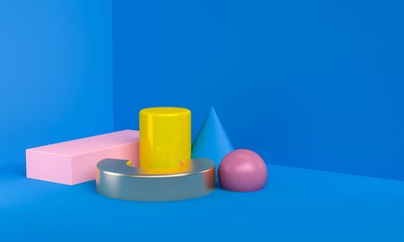 Minimalist Geometric shape colorful scene, 3d rendering