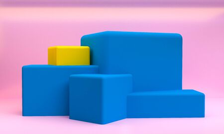 Minimalist abstract primitive geometrical figures background, pastel colors, 3D render, trend poster.