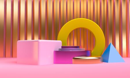 Minimalist abstract primitive geometrical figures background, 3D render, trend poster.