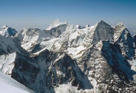 vastness: Camp 3, 6350 m  on Ama Dablam normal route  Mornig view on the south  Kusum Kanguru and Kantega himalayan summits