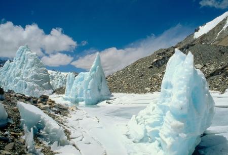 glasier: Seracs on the Main Rongbuk glasier, Everest TNF Stock Photo