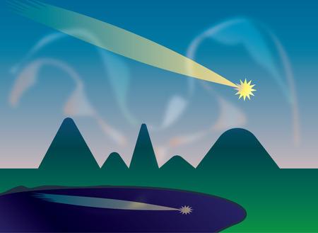 northern lights: Shooting star and northern lights Illustration