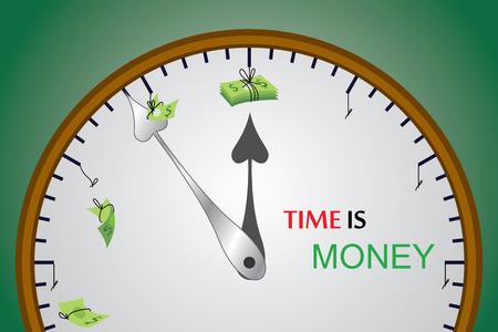 Ta grafika wektorowa pokazuje wartość czasu i jak czas może obniżyć pieniądze powoli